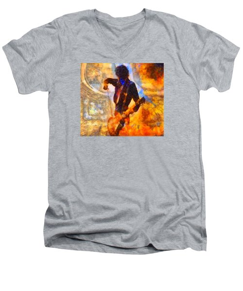 Jimmy Page Playing Guitar With Bow Men's V-Neck T-Shirt by Dan Sproul