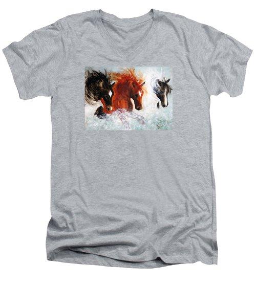 Men's V-Neck T-Shirt featuring the painting Joe Tj Apache by Barbie Batson