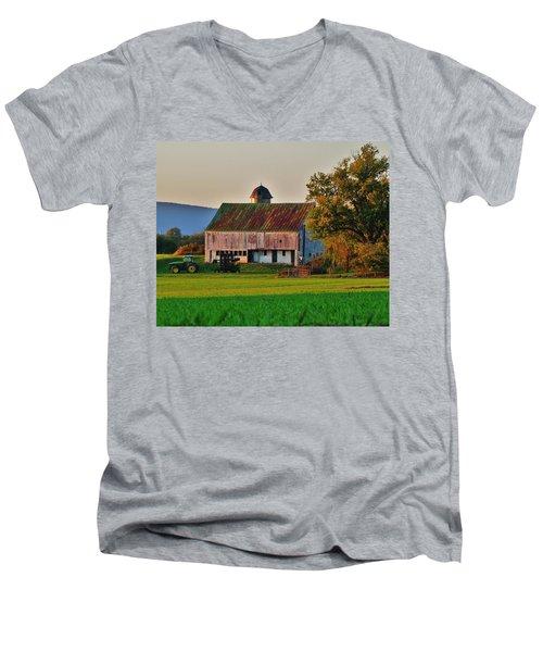 John Deere Green Men's V-Neck T-Shirt by Robert Geary