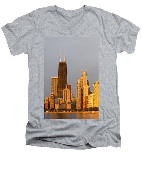 John Hancock Center Chicago Men's V-Neck T-Shirt by Adam Romanowicz