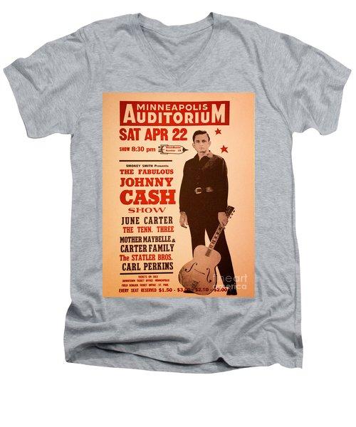 Johnny Cash Men's V-Neck T-Shirt by Bob Hislop