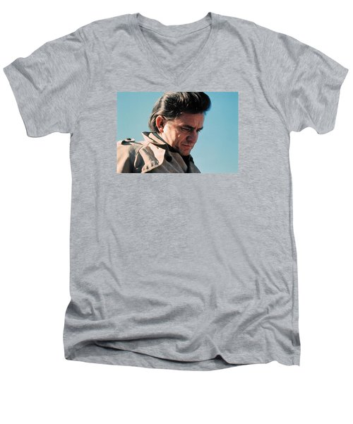 Men's V-Neck T-Shirt featuring the photograph Johnny Cash  Music Homage Ballad Of Ira Hayes Old Tucson Arizona 1971 by David Lee Guss