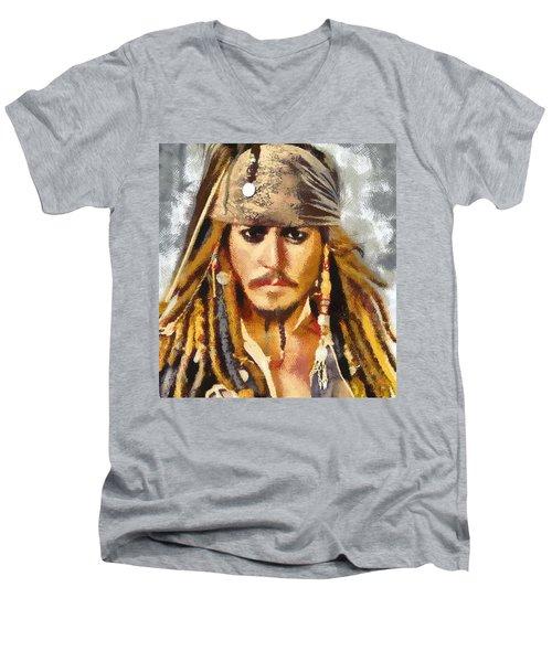 Johnny Depp Jack Sparrow Actor Men's V-Neck T-Shirt by Georgi Dimitrov