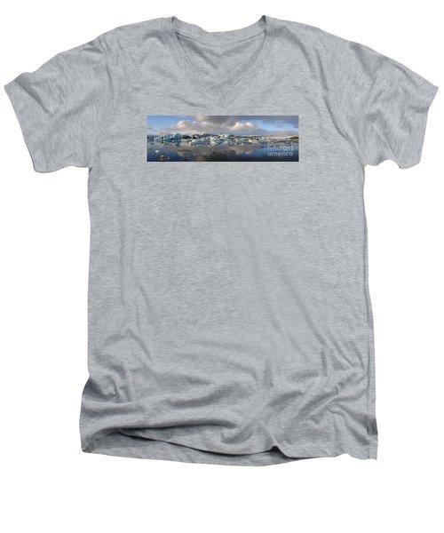 Jokulsarlon Glacier Lagoon Panorama Men's V-Neck T-Shirt by IPics Photography