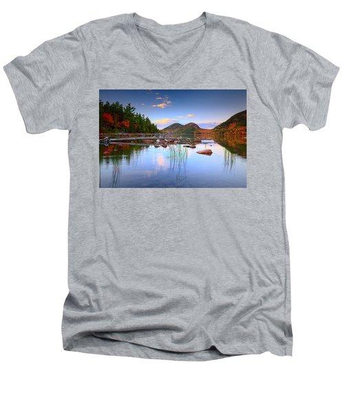 Jordan Pond In Fall Men's V-Neck T-Shirt