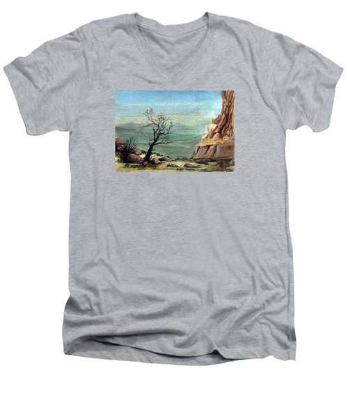 Men's V-Neck T-Shirt featuring the painting Jordanian Valley by Mikhail Savchenko