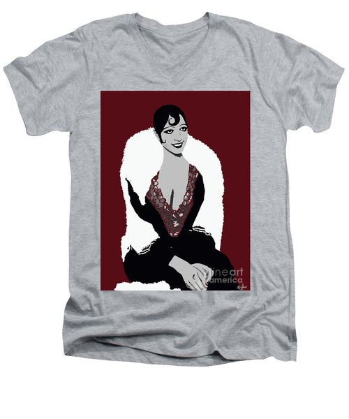 Josephine Baker A Class Act Circa 1920 Men's V-Neck T-Shirt by Saundra Myles