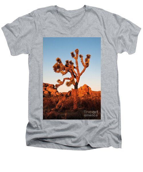 Men's V-Neck T-Shirt featuring the photograph Joshua Tree At Sunset by Mae Wertz