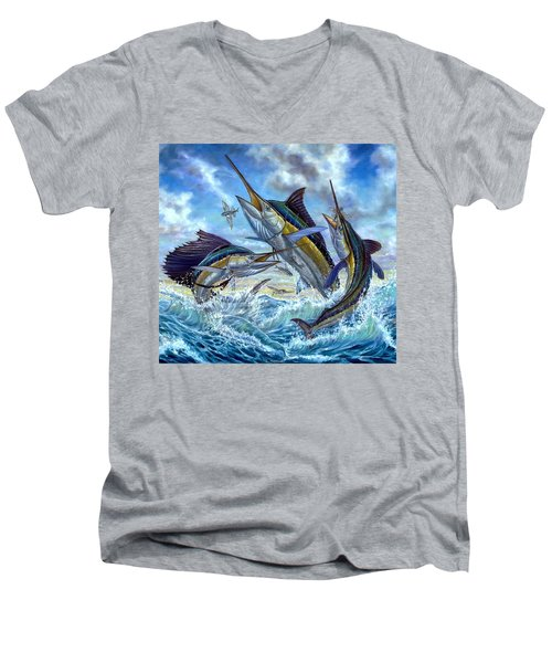 Jumping Grand Slam And Flyingfish Men's V-Neck T-Shirt