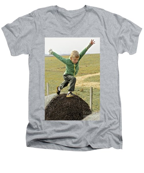 Jumping Haystacks Men's V-Neck T-Shirt by Suzanne Oesterling