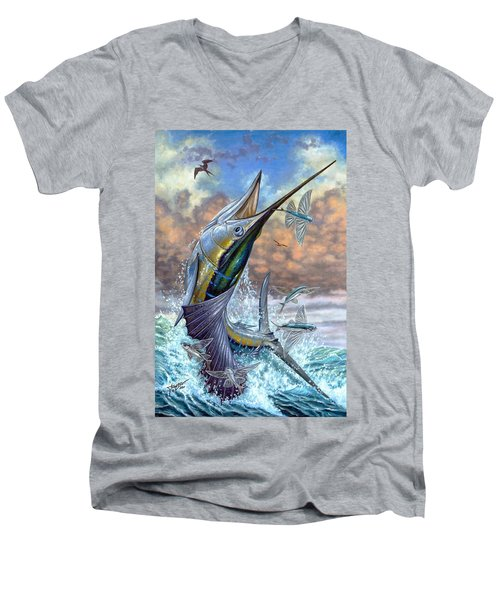Jumping Sailfish And Flying Fishes Men's V-Neck T-Shirt