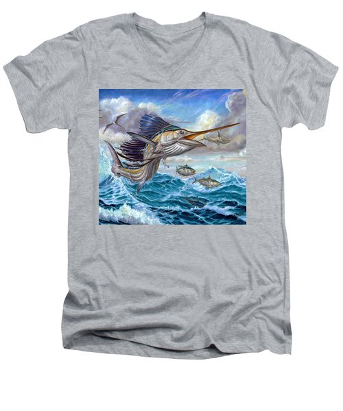 Jumping Sailfish And Small Fish Men's V-Neck T-Shirt