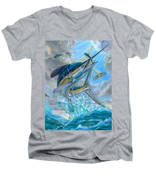 Jumping White Marlin And Flying Fish Men's V-Neck T-Shirt