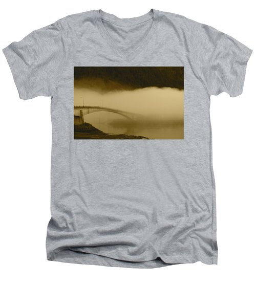 Juneau - Douglas Bridge Men's V-Neck T-Shirt by Cathy Mahnke