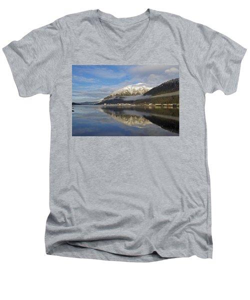 Juneau In Winter Men's V-Neck T-Shirt by Cathy Mahnke