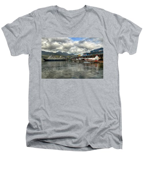 Juneau's Hangar On The Wharf Men's V-Neck T-Shirt