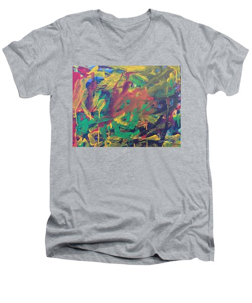 Men's V-Neck T-Shirt featuring the painting Jungle by Donald J Ryker III