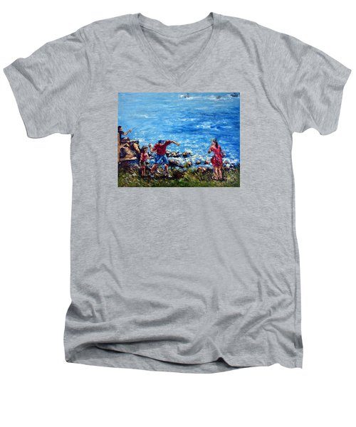 Just A Pebble In The Water Men's V-Neck T-Shirt