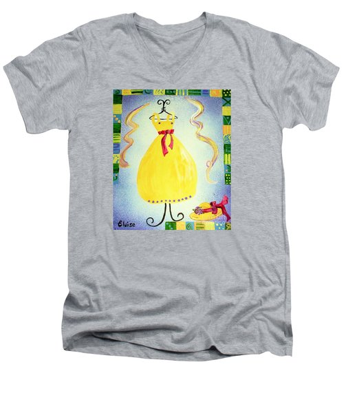 Men's V-Neck T-Shirt featuring the painting Just A Simple Hat And Dress by Eloise Schneider