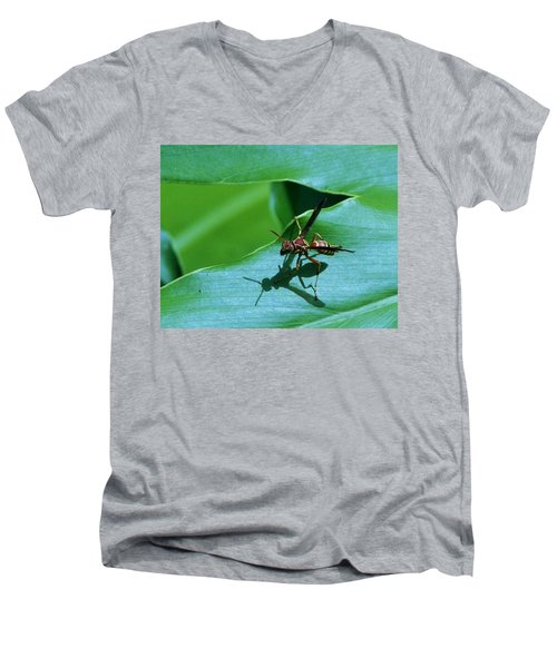 Men's V-Neck T-Shirt featuring the photograph Just Me And My Shadow by John Glass