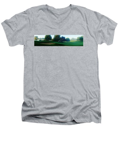 Just Off The Green Men's V-Neck T-Shirt by Daniel Thompson