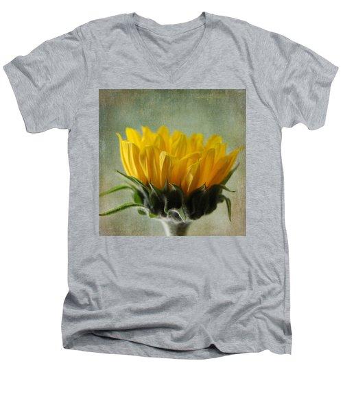 Just Opening Sunflower Men's V-Neck T-Shirt by Denyse Duhaime