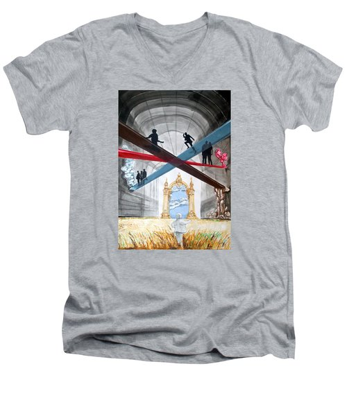 Men's V-Neck T-Shirt featuring the painting Just Paths  by Lazaro Hurtado