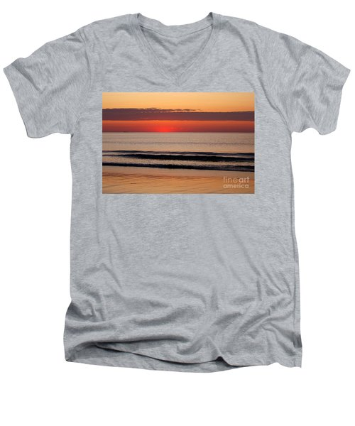 Men's V-Neck T-Shirt featuring the photograph Just Showing Up Along Hampton Beach by Eunice Miller