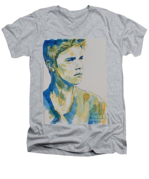 Justin Bieber Men's V-Neck T-Shirt by Chrisann Ellis