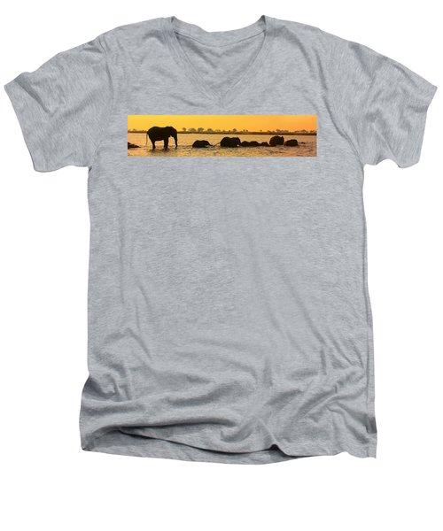 Men's V-Neck T-Shirt featuring the photograph Kalahari Elephants Crossing Chobe River by Amanda Stadther