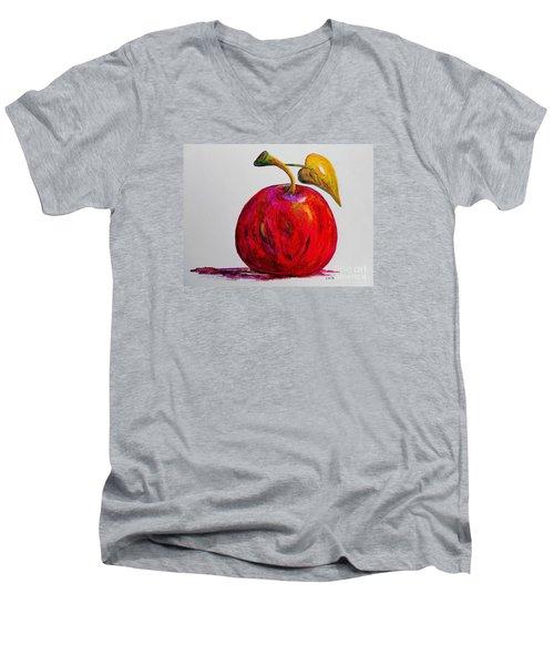 Kaleidoscope Apple -- Or -- Apple For The Teacher  Men's V-Neck T-Shirt by Eloise Schneider