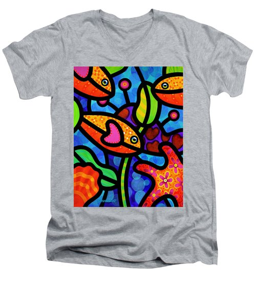 Kaleidoscope Reef Men's V-Neck T-Shirt