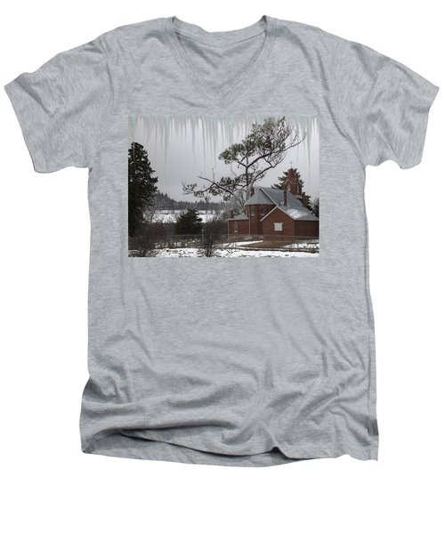 Men's V-Neck T-Shirt featuring the photograph Kansas Church by Liane Wright