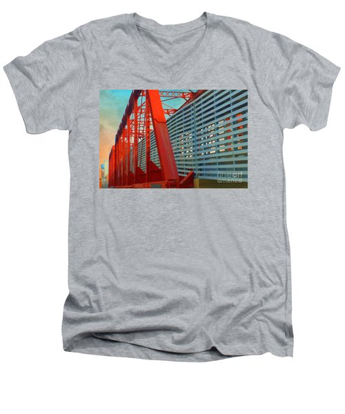 Kansas City Train Bridge - Pencoyd Railroad Bridge  Men's V-Neck T-Shirt