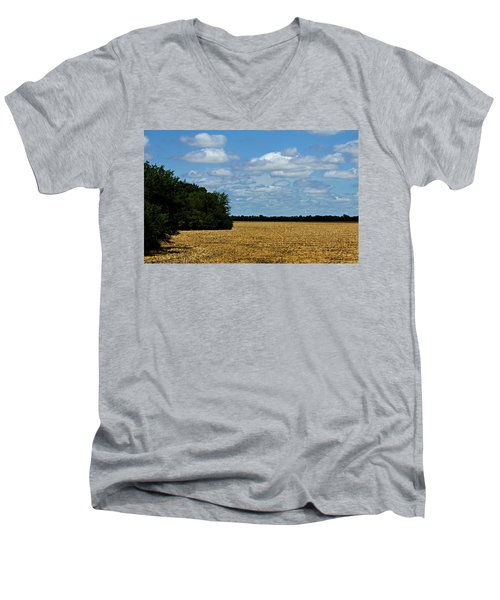 Kansas Fields Men's V-Neck T-Shirt by Jeanette C Landstrom