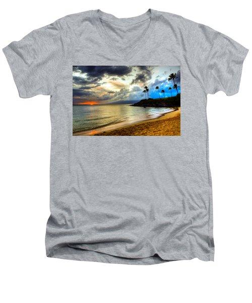 Kapalua Bay Sunset Men's V-Neck T-Shirt by Kelly Wade