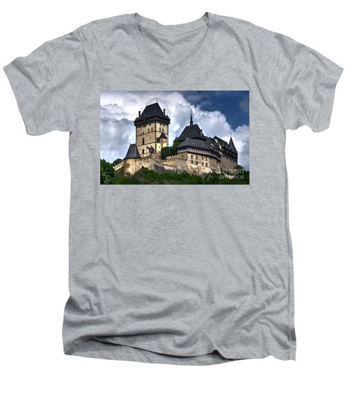 Men's V-Neck T-Shirt featuring the photograph Karlstejn Castle In Prague 2 by Joe  Ng