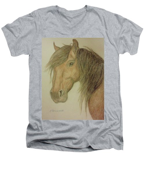 Kathy's Horse Men's V-Neck T-Shirt by Christy Saunders Church