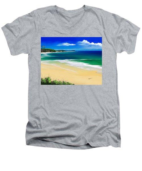 Men's V-Neck T-Shirt featuring the digital art Kauai Beach Solitude by Anthony Fishburne