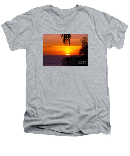 Kauai Sunset Men's V-Neck T-Shirt by Patricia Griffin Brett