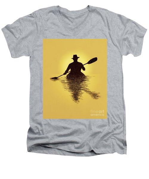 Kayaker Sunset Men's V-Neck T-Shirt by Garry McMichael