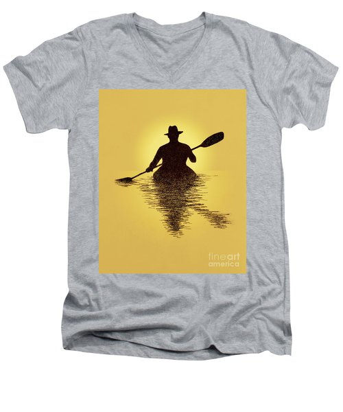 Kayaker Sunset Men's V-Neck T-Shirt