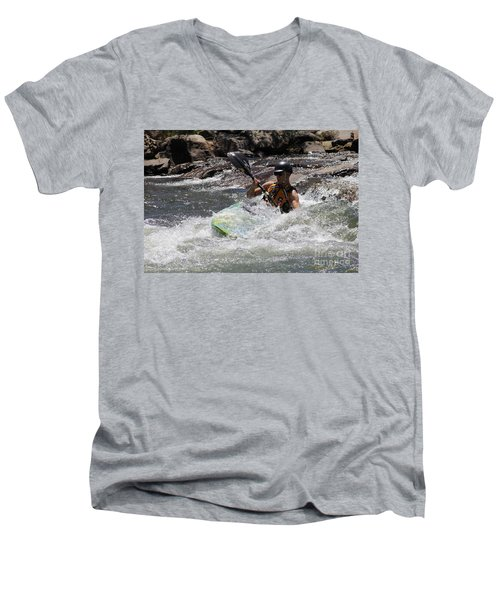 Kayaking In Golden Men's V-Neck T-Shirt