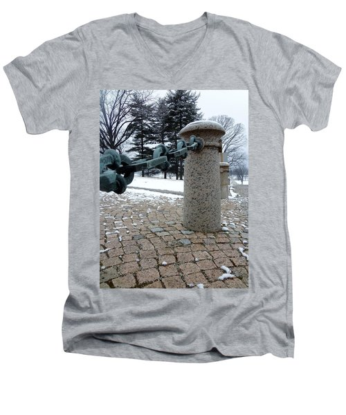 Men's V-Neck T-Shirt featuring the photograph Keep Out by Michael Porchik