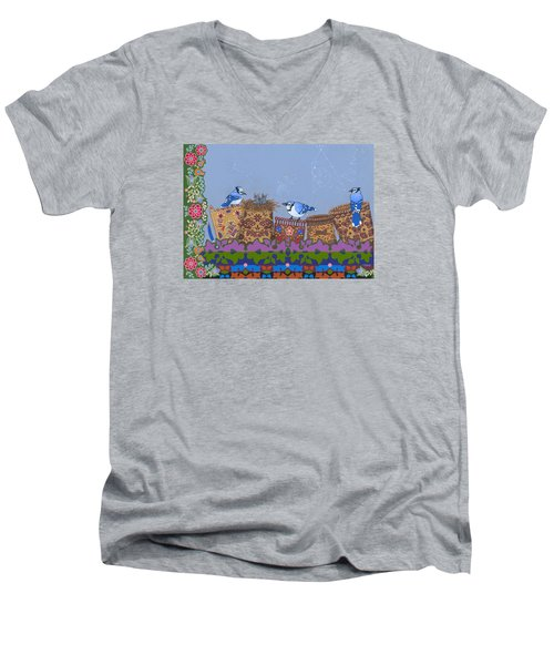 Men's V-Neck T-Shirt featuring the painting Keeper Of Songs by Chholing Taha