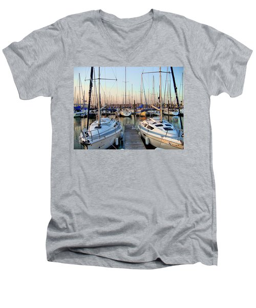 Kemah Boardwalk Marina Men's V-Neck T-Shirt by Savannah Gibbs