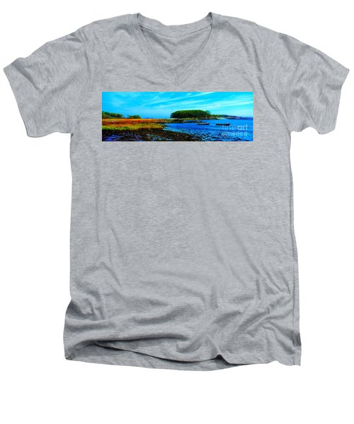 Men's V-Neck T-Shirt featuring the photograph Kennepunkport Vaughn Island  by Tom Jelen