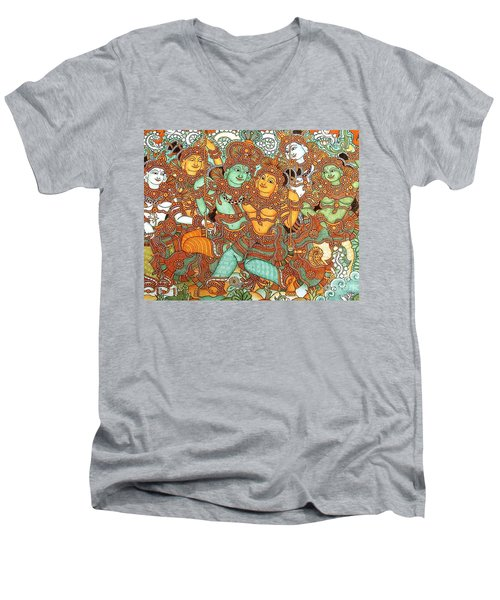 Kerala Mural Painting Men's V-Neck T-Shirt