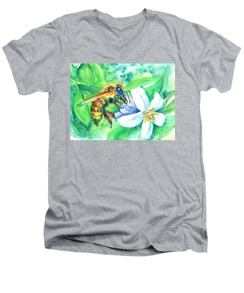 Key Lime Honeybee Men's V-Neck T-Shirt