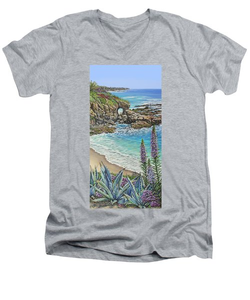 Keyhole Rock Laguna Men's V-Neck T-Shirt by Jane Girardot